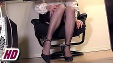 movie of a secretary in stockings masturbating at her desk