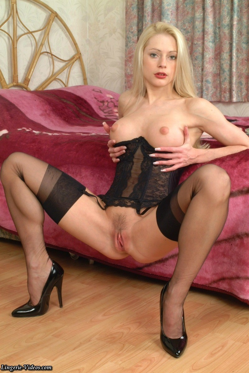 stockings lingerie Blonde heels