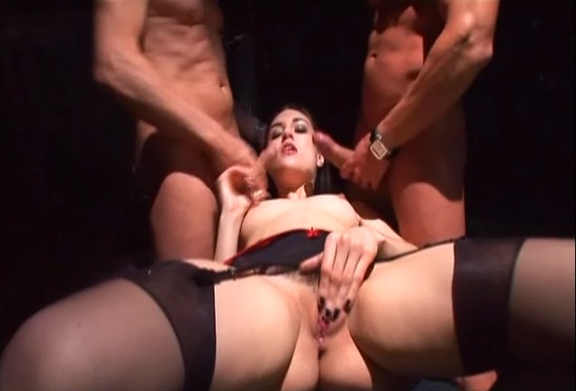 Sasha Gray in Lingerie MMF Dungeon Sex Series